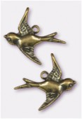 Estampe hirondelle 18x17 mm bronze x2