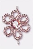 Pendentif rocaille fleur A 25 mm pink / light amethyst x1