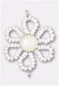 Pendentif rocaille fleur A 25 mm white / chalk white x1