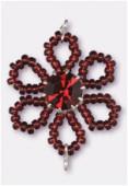 Pendentif rocaille fleur A 25 mm garnet / garnet x1