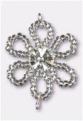 Pendentif rocaille fleur A 25 mm crystal SF / crystal x1