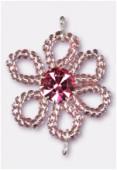 Pendentif rocaille fleur A 25 mm pink / fuchsia x1