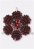 Pendentif rocaille fleur C 27 mm garnet / garnet x1