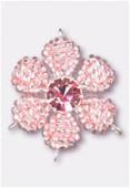 Pendentif rocaille fleur C 27 mm pink / fuchsia x1