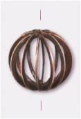 Perle en métal cage 17 mm cuivre x2