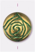 Perle rosebude 14 mm bronze green patina x2