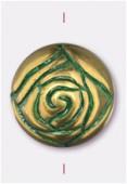 Perle rosebude 18 mm bronze green patina x2