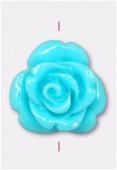 Rose en résine 13 mm turquoise x1