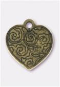 Breloque en métal coeur bouquet de fleurs 20x20 mm bronze x1