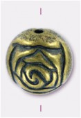 Perle rosebude 18 mm bronze denim patina x2