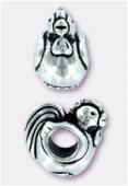 Perle en métal Eurobeads coq 13x8 mm argent vieilli x1