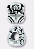 Perle en métal Eurobeads ourson 12x9 mm argent vieilli x1
