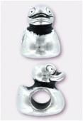 Perle en métal Eurobeads canard 12x9 mm argent vieilli x1