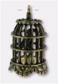 Pendentif en métal cage oiseau 30x23 mm bronze x1