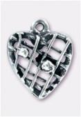 Argent 925 pendentif coeur fils boules 16 mm x1