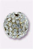 Boule strass Pave Ball 10.5 mm crystal / or x1