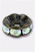 Rondelle strass 8 mm crystal AB / bronze x1