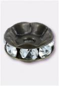 Rondelle strass 8 mm crystal / bronze x1