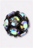 Boule strass 8 mm crystal AB / cuivre x1
