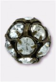 Boule strass 8 mm crystal / cuivre x1