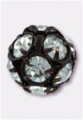Boule strass 8 mm crystal / bronze x1
