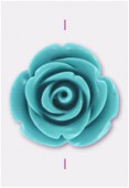 Rose en résine 23 mm turquoise x1