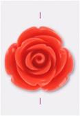 Rose en résine 23 mm corail x1