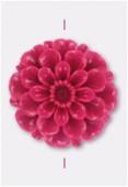 Fleur en résine 23 mm fuchsia x1
