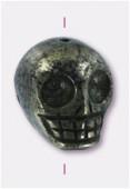Pyrite perle tête de mort 17x15 mm x1