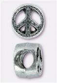 Perle en métal peace 10x7 mm argent vieilli x2