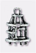 Breloque en métal cage 18x12 mm argent vieilli x1