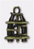 Breloque en métal cage 18x12 mm bronze x1