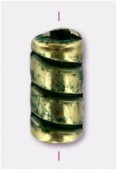 Tube 9x4 mm bronze green patina x6
