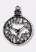 Pendentif en métal cadran de montre 30 mm argent vieilli x1