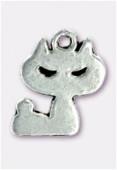 Breloque en métal chat 16x12 mm argent vieilli x2