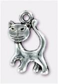 Breloque en métal chat 20x13 mm argent vieilli x2