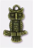 Breloque en métal chouette branche 20x13 mm bronze x2
