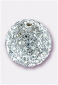 Boule strass Pave Ball 8 mm crystal / blanc x1