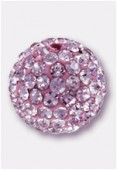Boule strass Pave Ball 10 mm rose / rose x1