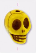 Howlite perle tête de mort 13x10 mm jaune x1