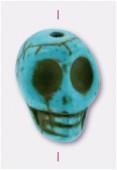 Howlite perle tête de mort 13x10 mm turquoise x1