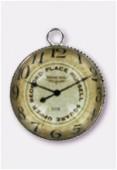 Pendentif en verre et métal clock 20 mm x1