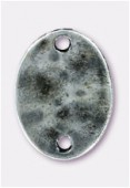 Perle en métal intercalaire pion ovale 20x15 mm argent vieilli x1