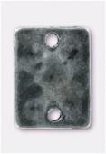 Perle en métal intercalaire pion rectangle 17x13 mm argent vieilli x1
