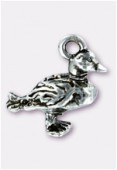 Breloque en métal canard 16x14 mm argent vieilli x1