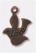 Breloque en métal colombe love 22x17 mm cuivre x2