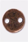 Perle en métal sequin 2 trous 10 mm cuivre x4