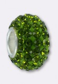 Rondelle strass Pave Ball 12 mm peridot x1