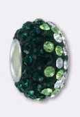 Rondelle strass Pave Ball 12 mm mix green x1