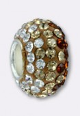 Rondelle strass Pave Ball 12 mm mix topaz x1